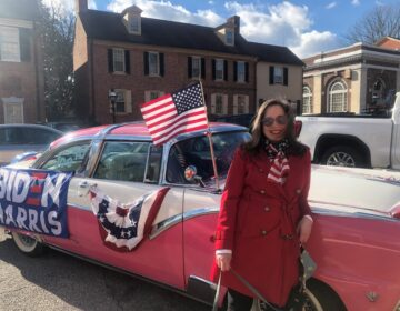 Amy Roe went all out in decorating her 1955 Ford for Biden's inauguration. (Cris Barrish/WHYY)