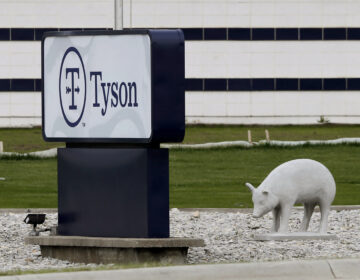 A sign sits in front of the Tyson Foods plant in Waterloo, Iowa.