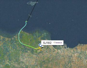 This radar image shows the flight path of Indonesian Sriwijaya Air Flight 182 before it dropped off radar on Saturday. (Flightradar24.com via AP)