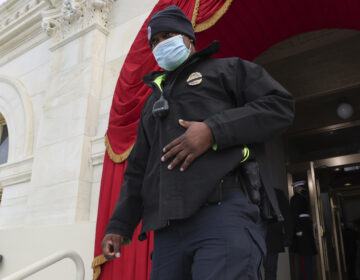 U.S. Capitol Police Officer Eugene Goodman attends a dress rehearsal for the 59th inaugural ceremony for President-elect Joe Biden and Vice President-elect Kamala Harris at the Capitol on Monday. (Jonathan Ernst/AP)