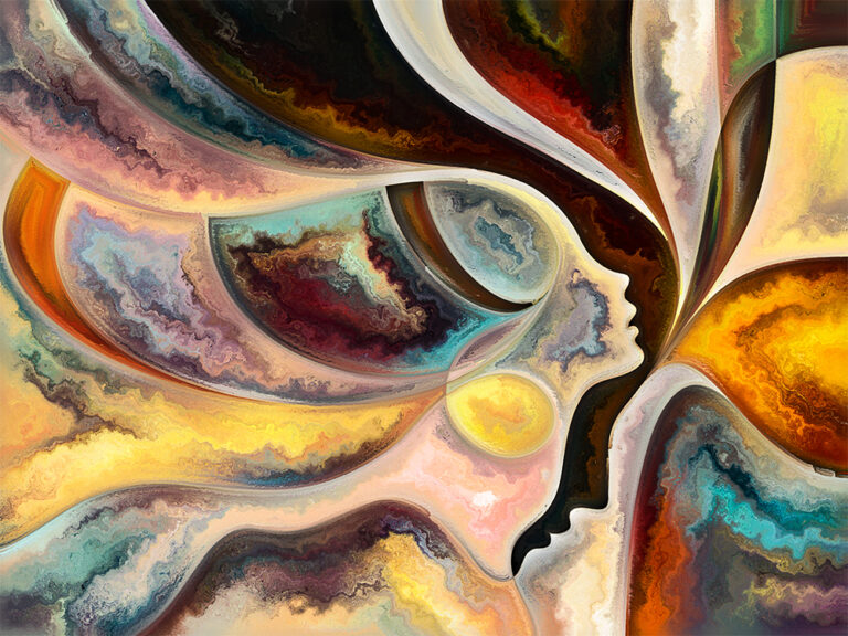 Composition of people faces, colors, organic textures, and flowing curves
