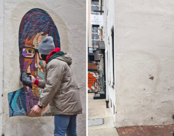 Artist Tish Urquhart put up her Casarez tribute Wednesday morning. Thursday evening, it was gone. LEFT: KIMBERLY PAYNTER / WHYY; RIGHT: TISH URQUHART