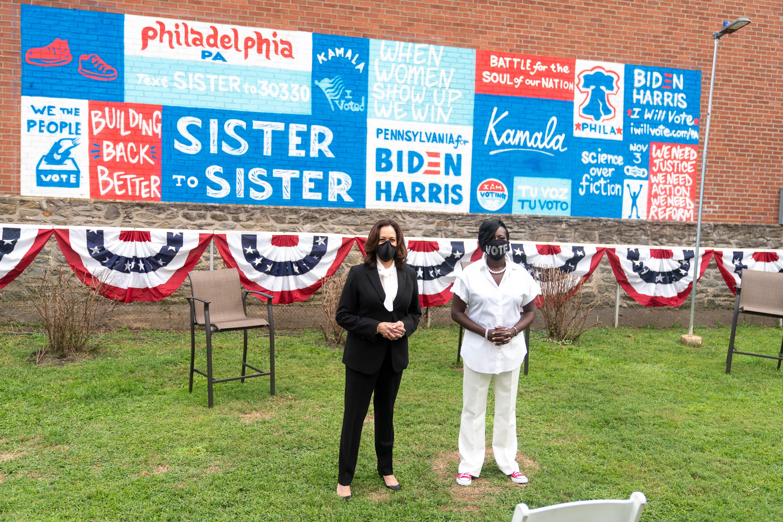 Then Sen. Kamala Harris stands with 9th District Councilmember Cherelle Parker at September's Sister Sister event in Northwest Philadelphia.