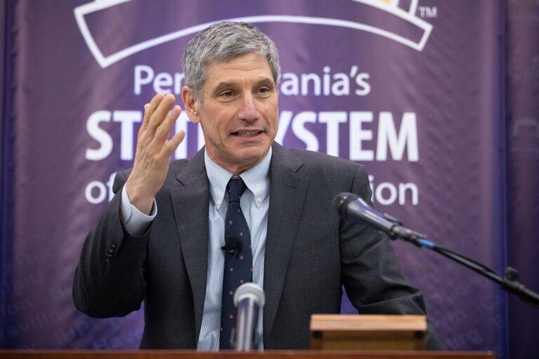 Daniel Greenstein speaks at a press conference.