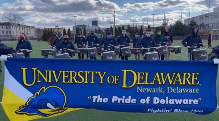 Members of the University of Delaware drumline practice in preparation for their performance in the stripped down inaugural parade for UD alum Joe Biden. (courtesy UDel)