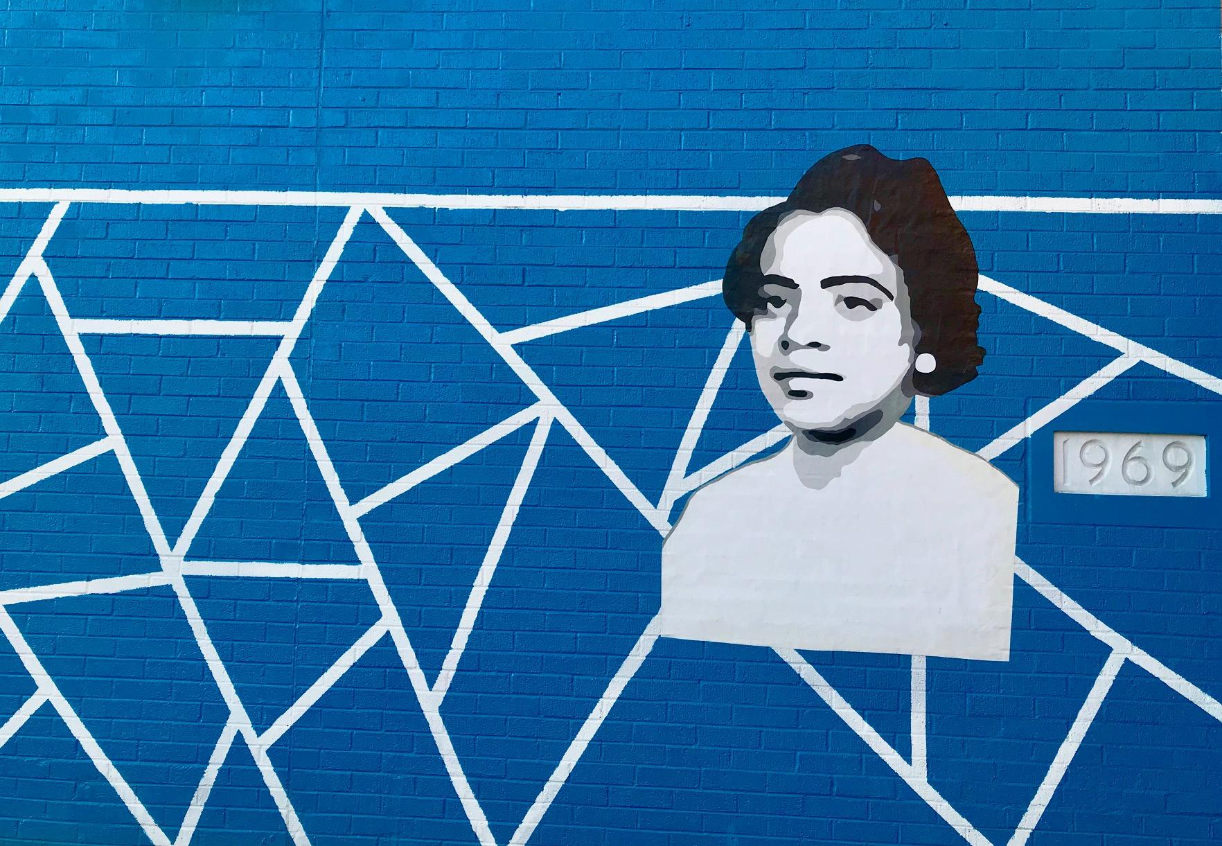 A mural outside Ethel D. Allen School in North Philadelphia.