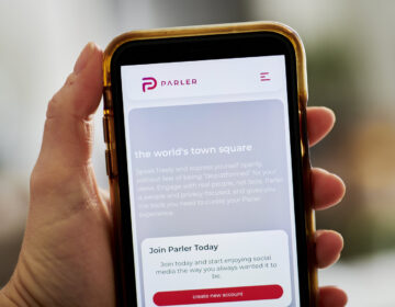 The Parler website home screen on a smartphone