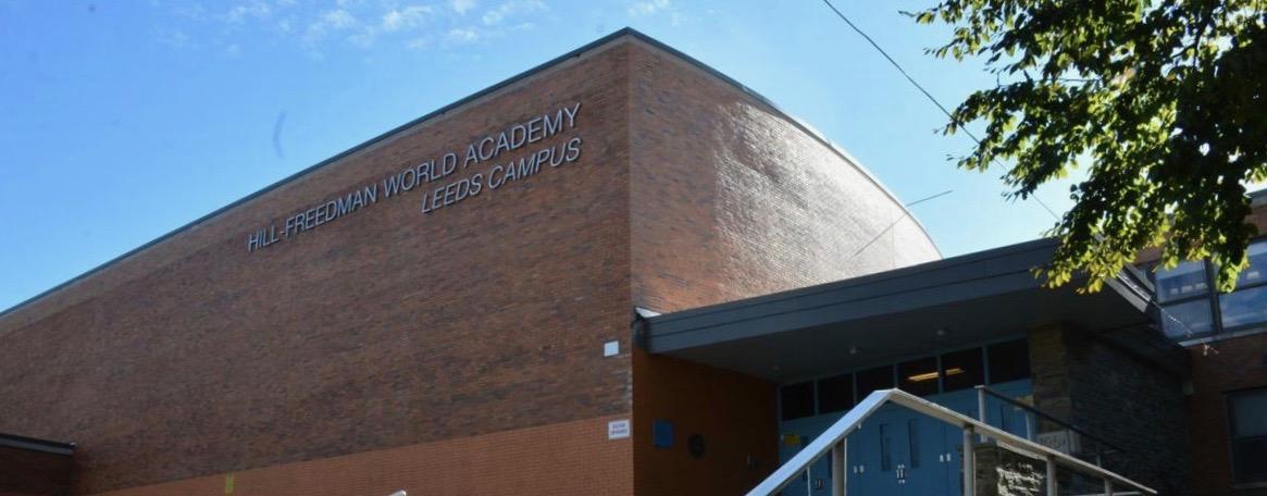 The exterior of Hill-Freedman World Academy in Northwest Philadelphia.