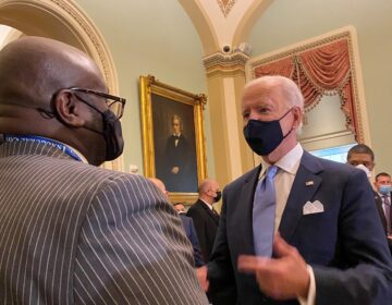 Tony Allen meets with President Biden inside the U.S. Capitol after Wednesday's inauguration ceremony. (Courtesy of Allen)