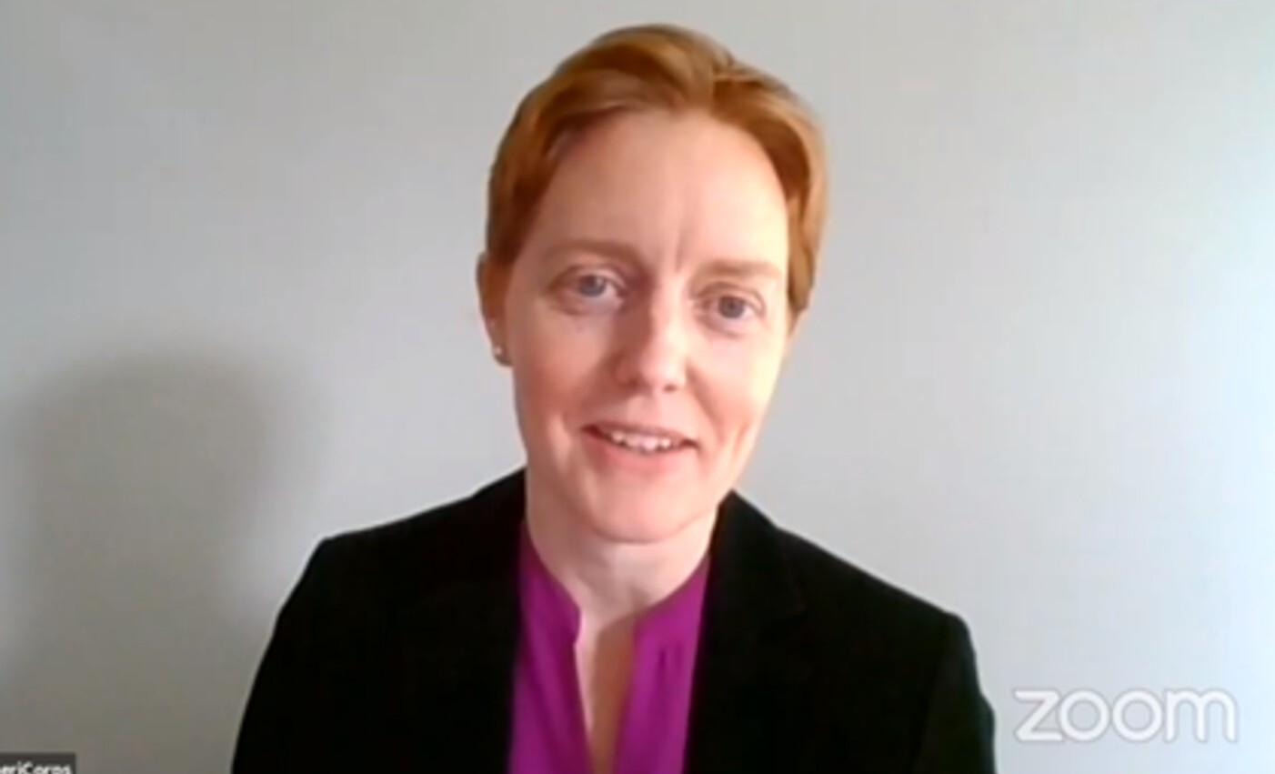 Karen Dahl is seen during a Zoom event