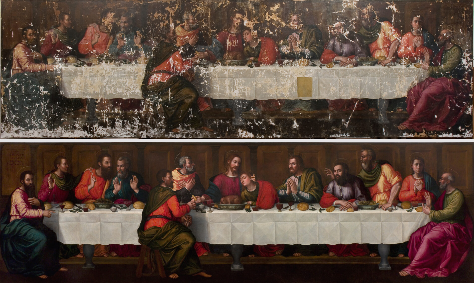 Nelli's Last Supper, before and after restoration.
