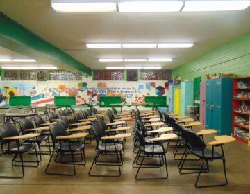 An empty classroom in Philadelphia.