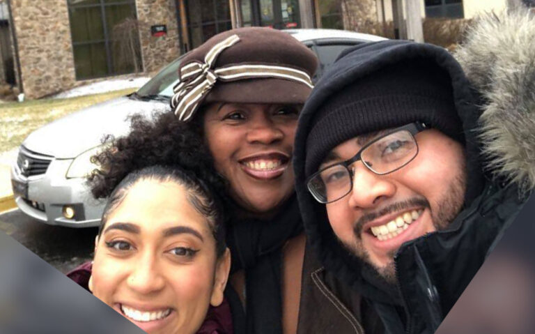 The Movement for Black and Brown Lives of Montgomery County co-founders from left to right. Veronica Moeller (L), Carmina Taylor (C) and Christopher Jaramillo (R). (Courtesy of the Movement for Black and Brown Lives of Montgomery County)