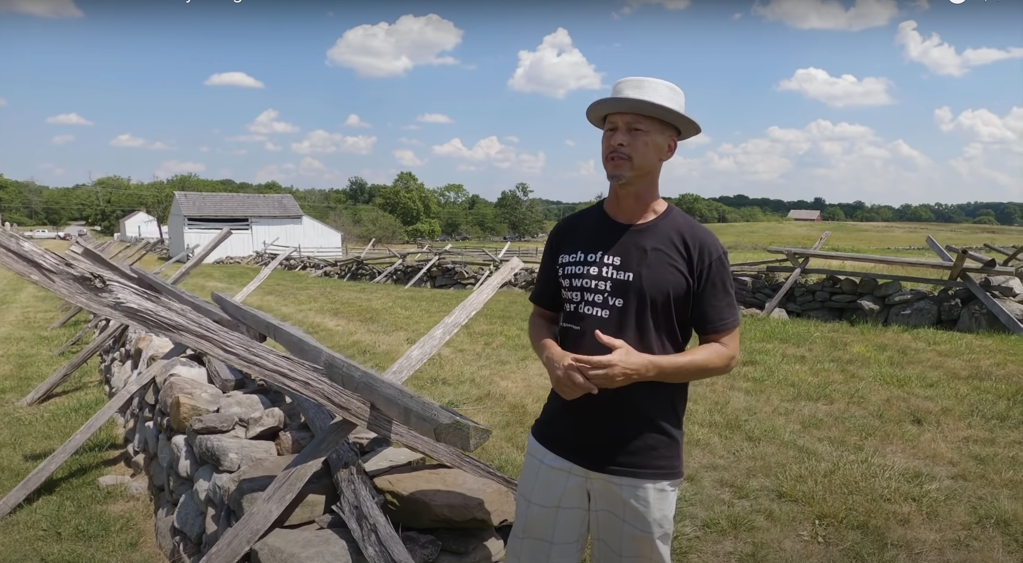 """Scott Hancock speaks at the Gettysburg National Military Park in this still from the upcoming documentary """"Postcards from Babylon: The Church in American Exile."""""""