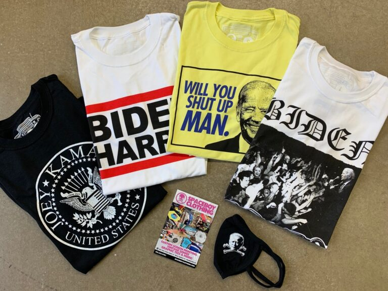 Spaceboy Clothing offers and assortment of eclectic Biden-based shirts including a yellow shirt highlighting his