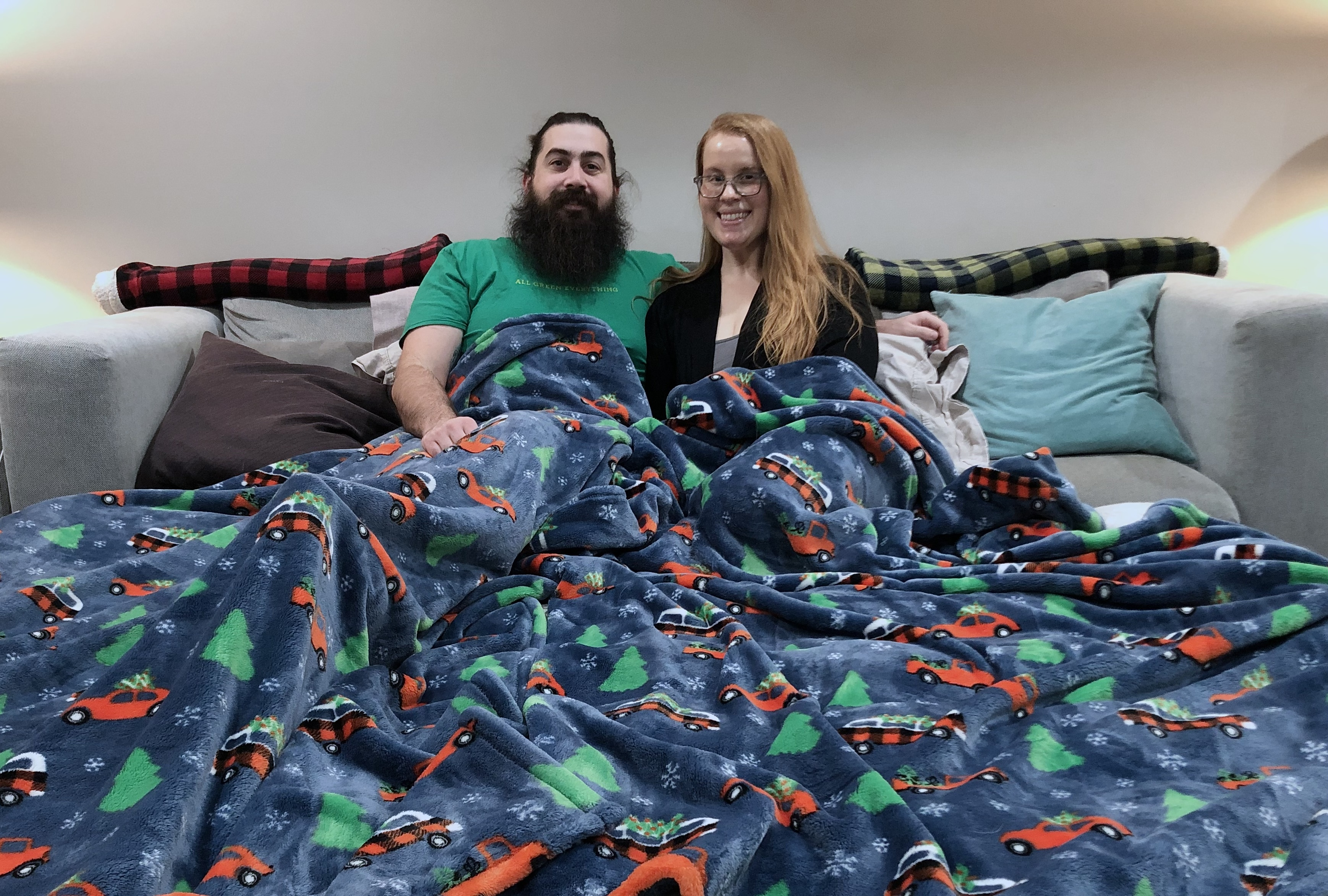 Steven Buller and his wife, Katie Retherford, set up an air mattress and attached it to the couch for a day full of watching Netflix.
