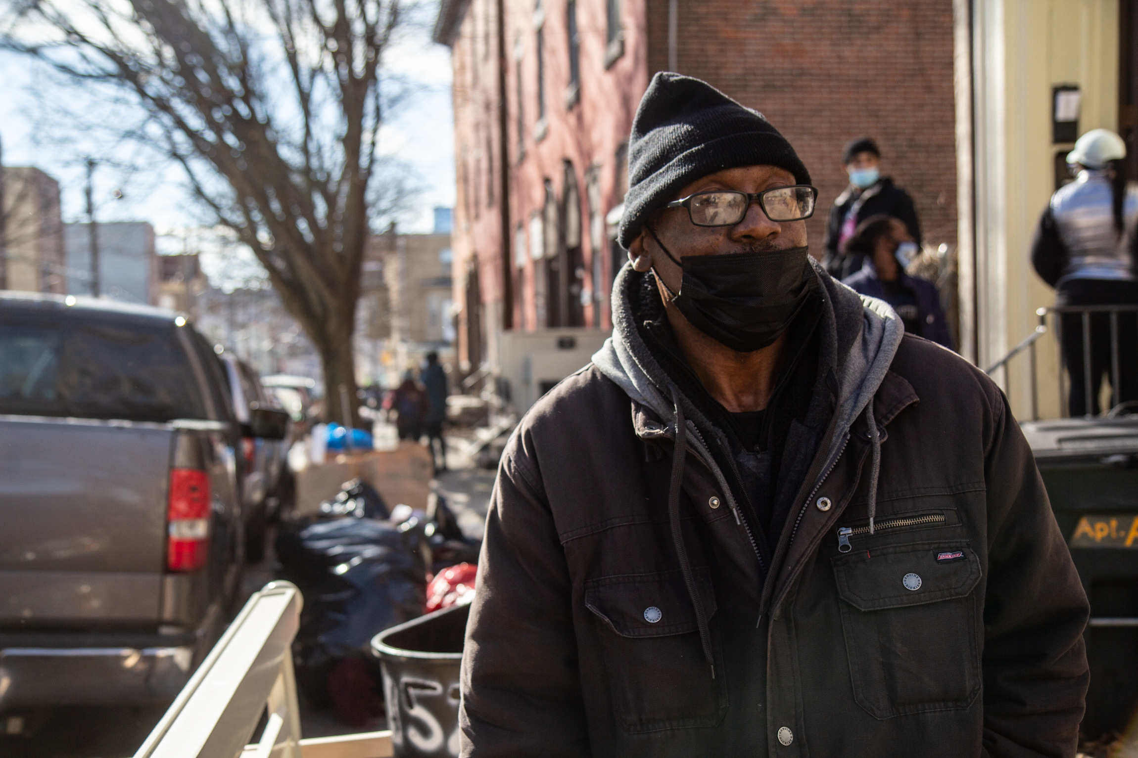 Kelvin Simpson wears a mask on North 17th Street