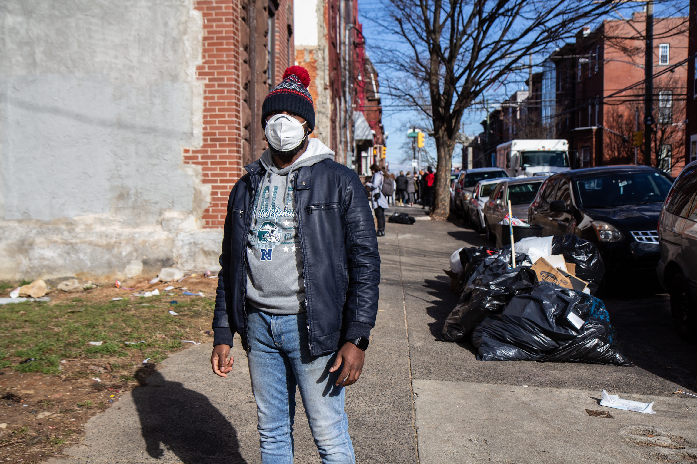 Terrill Haigler wears a face mask on North 17th Street