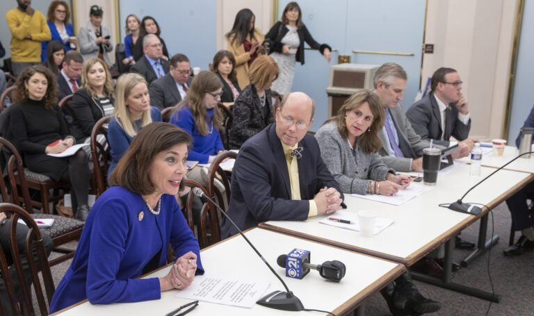"""State Sen. Kristin Phillips-Hill, R-York, (left) speaks in support of Senate Bill 60, also known as the """"Buyer Beware Act,"""" during a House Judiciary Committee hearing on Jan. 14, 2020. Also pictured, from left: state Rep. Paul Schemel, R-Franklin, Rep. Sheryl Delozier, R-Cumberland, Rep. Todd Stephens, R-Montgomery and Rep. Matt Dowling, R-Fayette/Somerset. (Courtesy of Phillips-Hill chief of staff Jon Hopcraft)"""