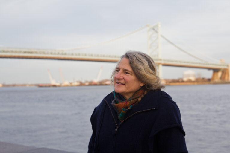 Stacy Levy, eco-artist, at Penn's Landing in Philadelphia. (Kimberly Paynter/WHYY)