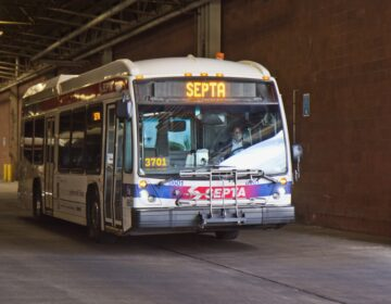 A SEPTA bus driver navigates through SEPTA's Midvale bus depot