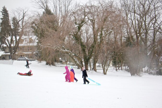 Sledders flock to Stokes Hill in Moorestown, N.J.