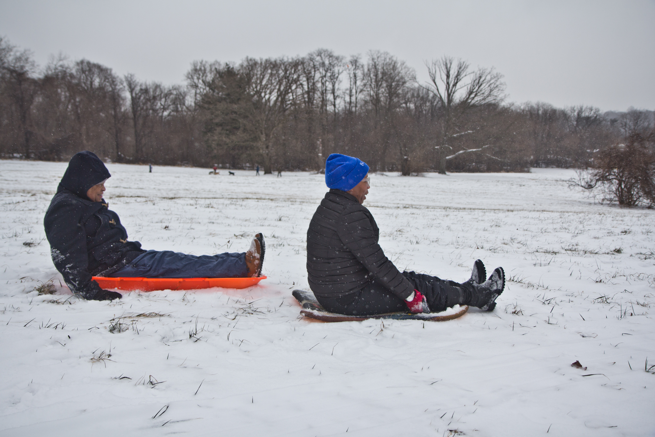 Lynn Nicholas and her husband Dennis Lee sled at Belmont Plateau