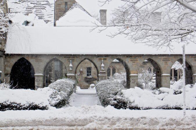 Heavy wet snow creates a gingerbread house effect on Trinity Episcopal Church