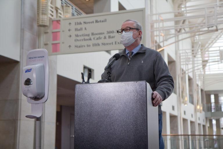 Mayor Jim Kenney addresses the media
