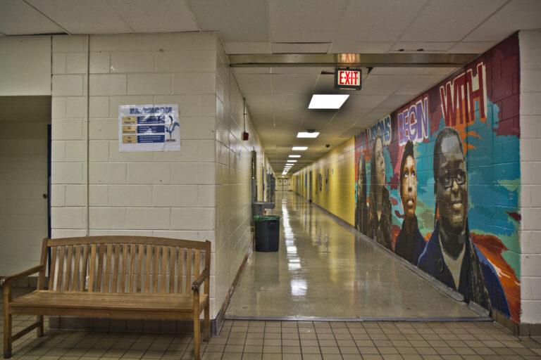 Empty hallways at E. W. Rhodes Elementary School in Philadelphia. (Kimberly Paynter/WHYY)