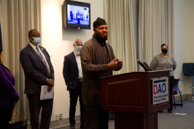 Iman Kenneth Nuriddin with Philadelphia Masjid spoke at a panel to highlight reforms made to juvenile justice policies in the city on February 8, 2021. (Kimberly Paynter/WHYY)