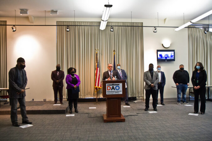 Philadelphia District Attorney Larry Krasner, members of his administration and officials held a panel to highlight reforms made to juvenile justice policies in the city. (Kimberly Paynter/WHYY)