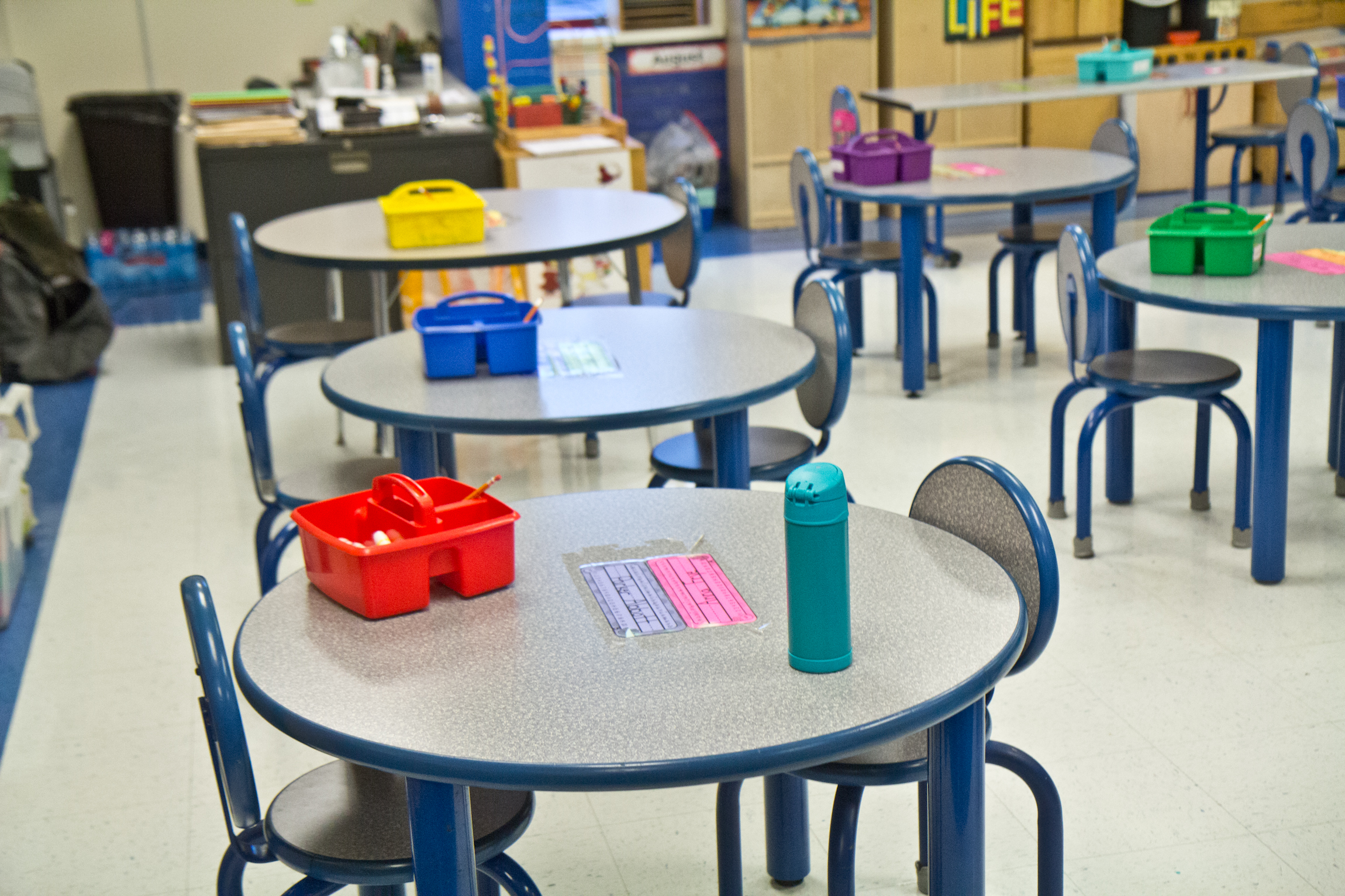 Activity tables are spaced apart at a Philadelphia charter school