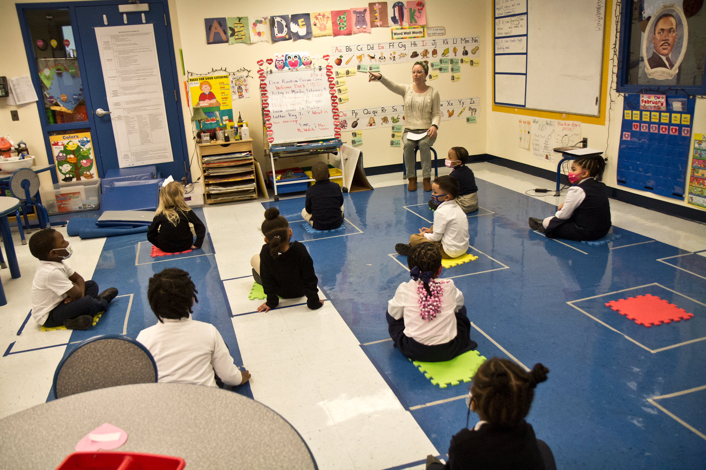 Kindergarten students are spaced out in class at Russell Byers Charter School