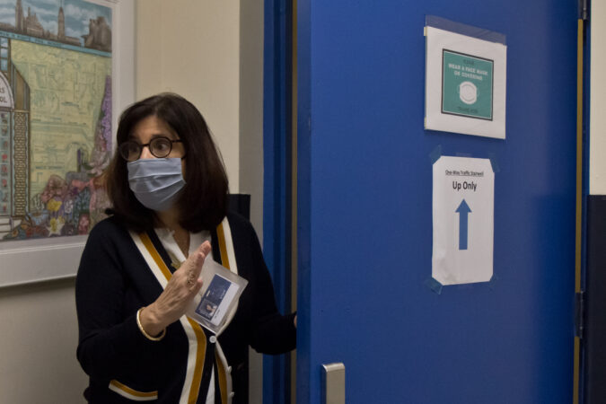 Russell Byers Charter school CEO Carol Domb wearing a face mask