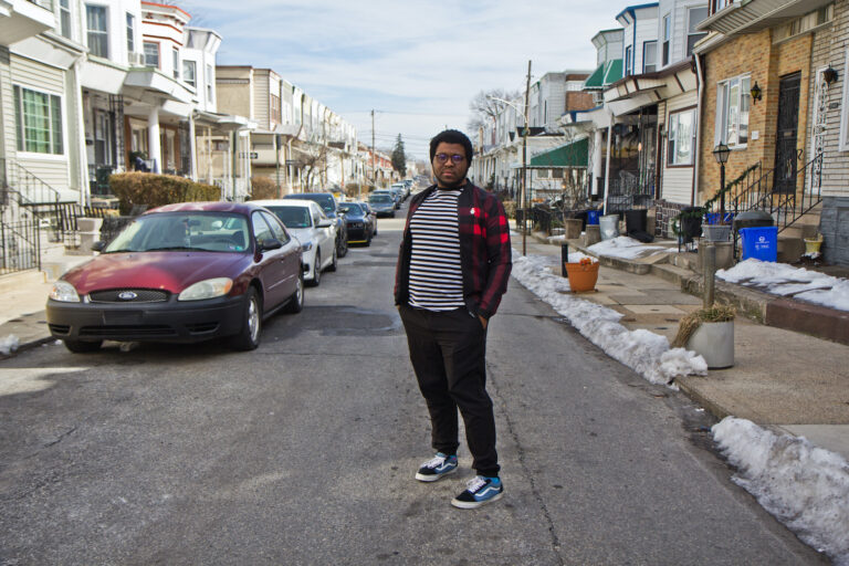 Kyle Hilleroutside his home in West Philadelphia. (Kimberly Paynter/WHYY)