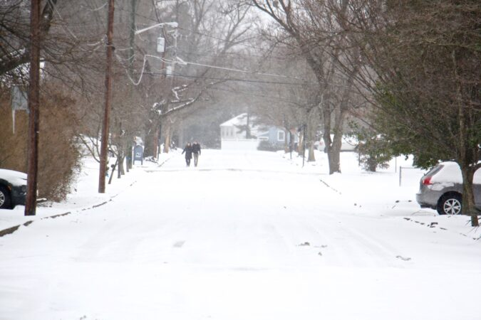 Snow blankets the roads in Moorestown, N.J.