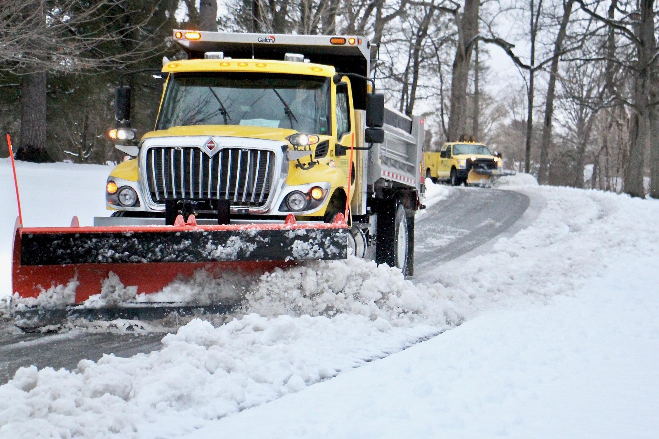 Plows clear the roads in Moorestown, N.J.