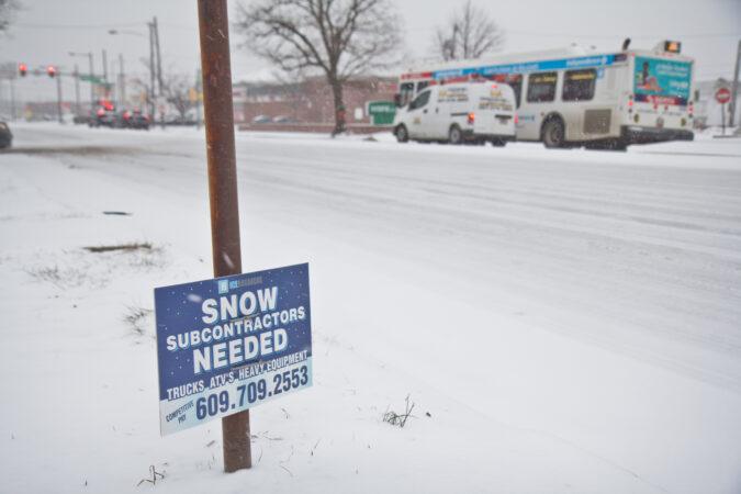 A snowy Philadelphia street