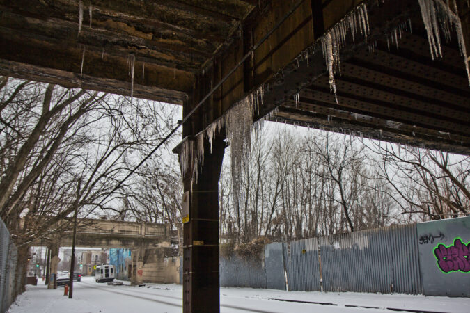 Icicles hang from an overpass in Philadelphia's Port Richmond neighborhood