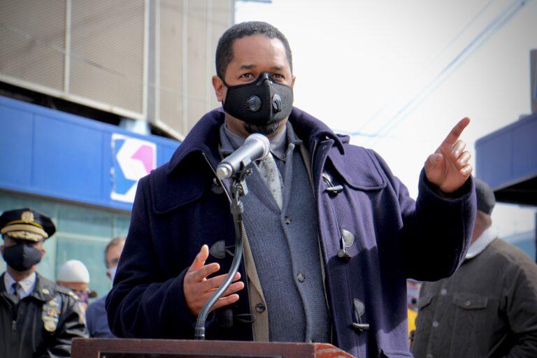 Pennsylvania Sen. Sharif Street speaks at the Olney Transportation Center