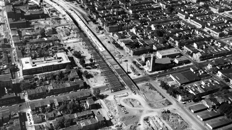 Construction work approaches 4th Street in September 1965. On the lower right, St. Paul's Catholic Church narrowly avoided the path of the interstate. (Courtesy of Delaware Public Archives)