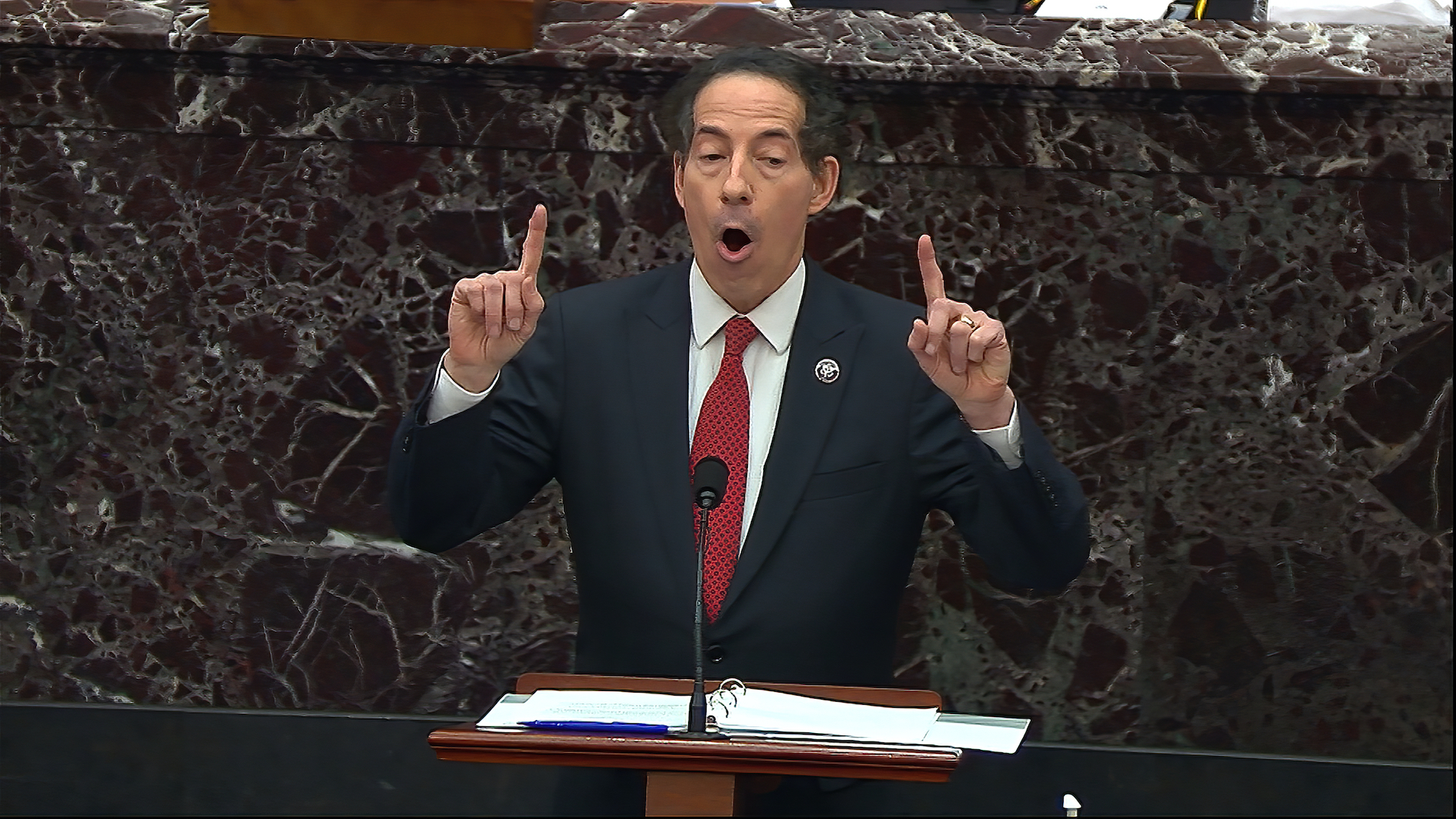 Rep. Jamie Raskin, D-Md., speaks during the second impeachment trial of former president Trump