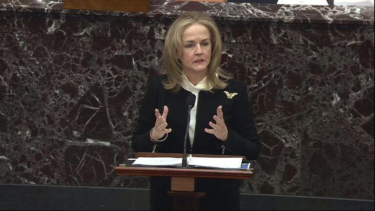 In this image from video, House impeachment manager Rep. Madeleine Dean, D-Pa., speaks during the second impeachment trial of former President Donald Trump in the Senate at the U.S. Capitol in Washington, Wednesday, Feb. 10, 2021. (Senate Television via AP)