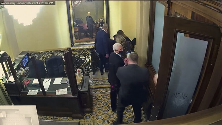A video screengrab shows Vice President Mike Pence being evacuated as rioters breach the Capitol