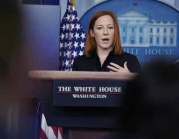 White House press secretary Jen Psaki speaks during a press briefing at the White House, Thursday, Feb. 11, 2021, in Washington. (AP Photo/Evan Vucci)