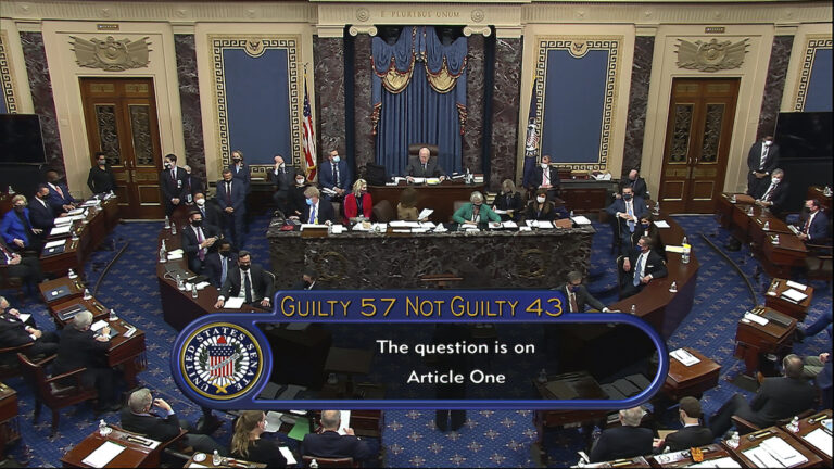 In this image from video, the final vote total of 57-43, to acquit former President Donald Trump of the impeachment charge, incitement of insurrection, in the Senate at the U.S. Capitol in Washington, Saturday, Feb. 13, 2021. (Senate Television via AP)