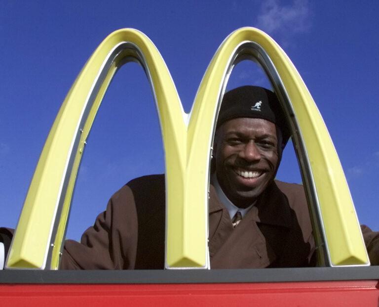 Herb Washington poses for a portrait outside his McDonalds restaraunt in Niles, Ohio, Thursday, Jan. 3, 2002. (AP Photo/Ron Schwane)