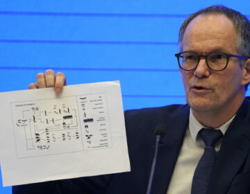 Peter Ben Embarek, of the World Health Organization team holds up a chart showing pathways of transmission of the virus