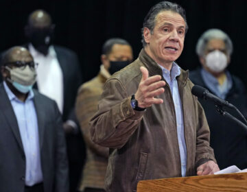 New York Gov. Andrew Cuomo speaks during a press conference